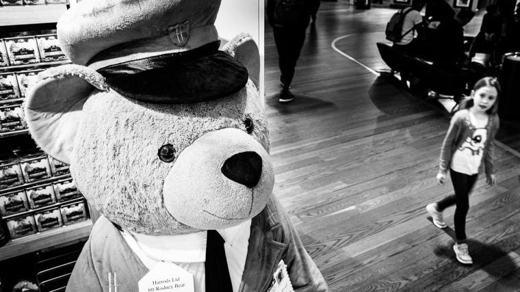 Rodney Bear, Bär, Teddy, Streetfoto, Mädchen, Flughafen, London, heathrow