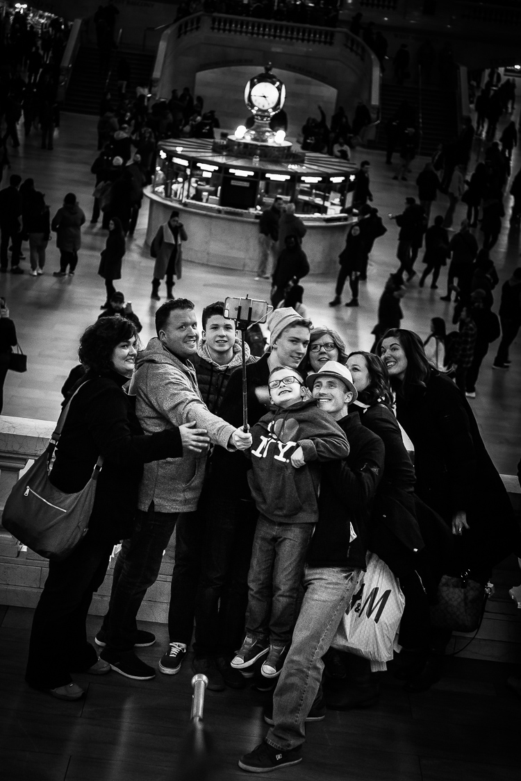 Selfie, Familie, Grand Central, New York, Streetfoto, Bahnhof