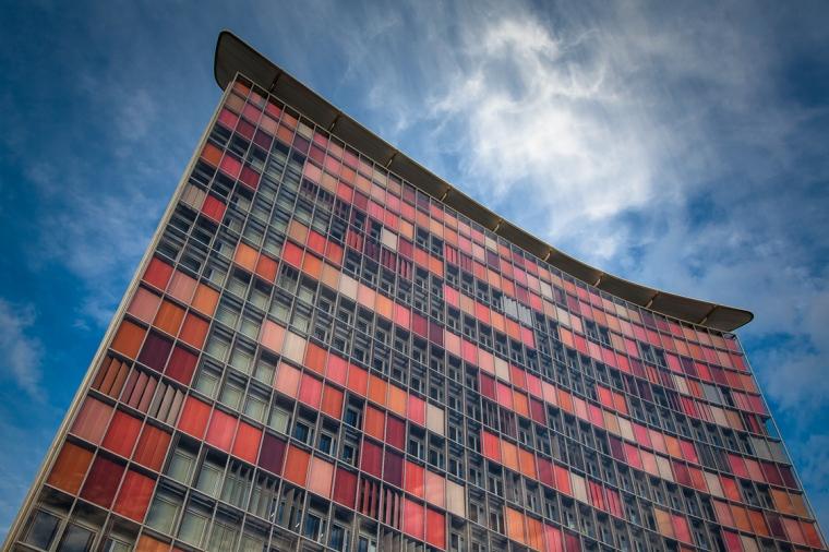 Hochhaus, Fassade, Abendlicht, Sonne, rot, orange, rosa