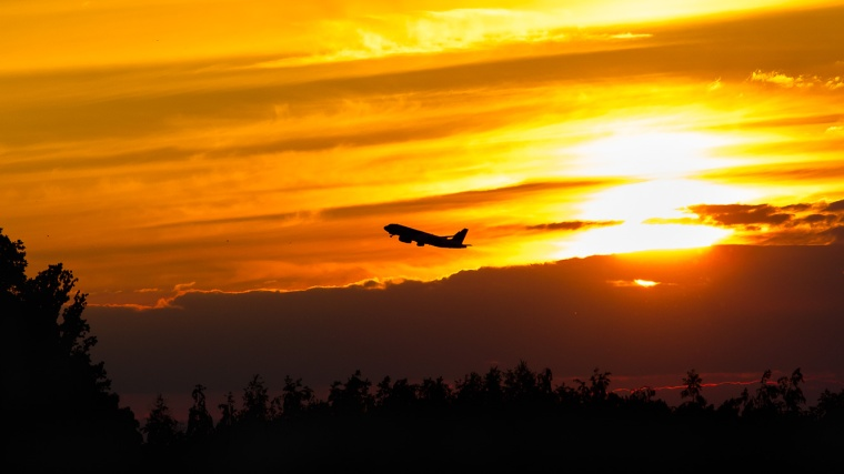 Sonnenuntergang, Flughafen, Flugzeug, Sonne, Berlin