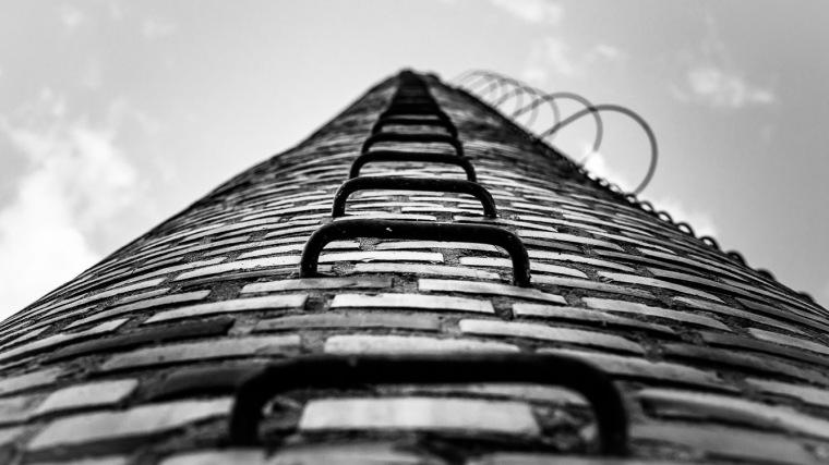 Turm, Ziegelstein, Leiter, klettern, Stiege