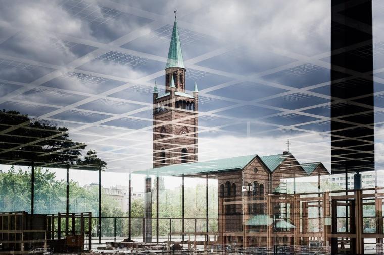 Kirche, St. Matthäus, Berlin, Spiegelung, Neue Nationalgalerie, Nationalgalerie