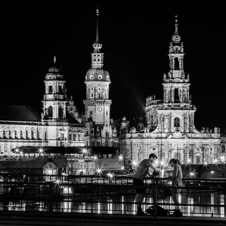 Dresden, Elbufer, Hofkirche, Residenzschloss, Oberlandesgericht