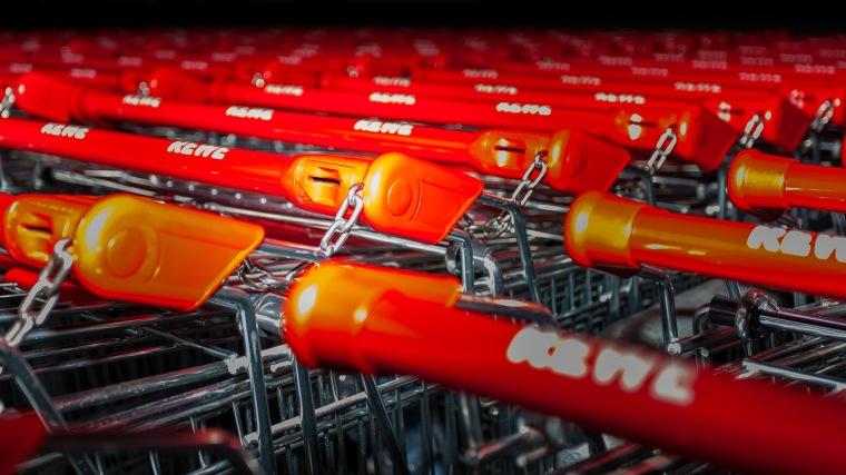 Einkaufswagen, Supermarkt, Rewe