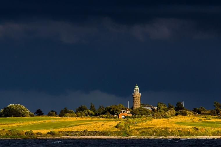 Leuchtturm, Aeroe, Skjoldnaes, Abendsonne, Wolken
