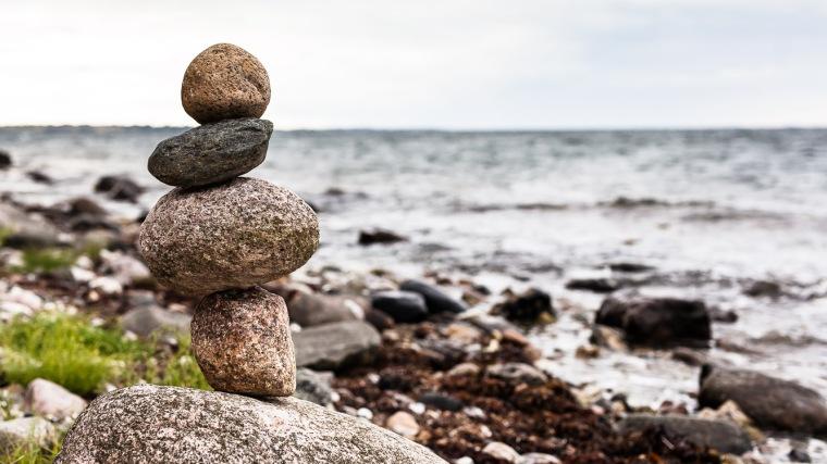 Wegmarkierung, Steine, Strand, Ostsee, Aeroe, Dänemark, Insel
