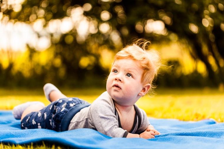 Baby, Säugling, Decke, Garten, Sommer, Sonne