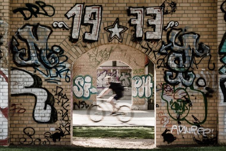 Gleisdreieck-Park, Gleisdreieck, Berlin, Graffitti, Fahrrad, Radfahrer