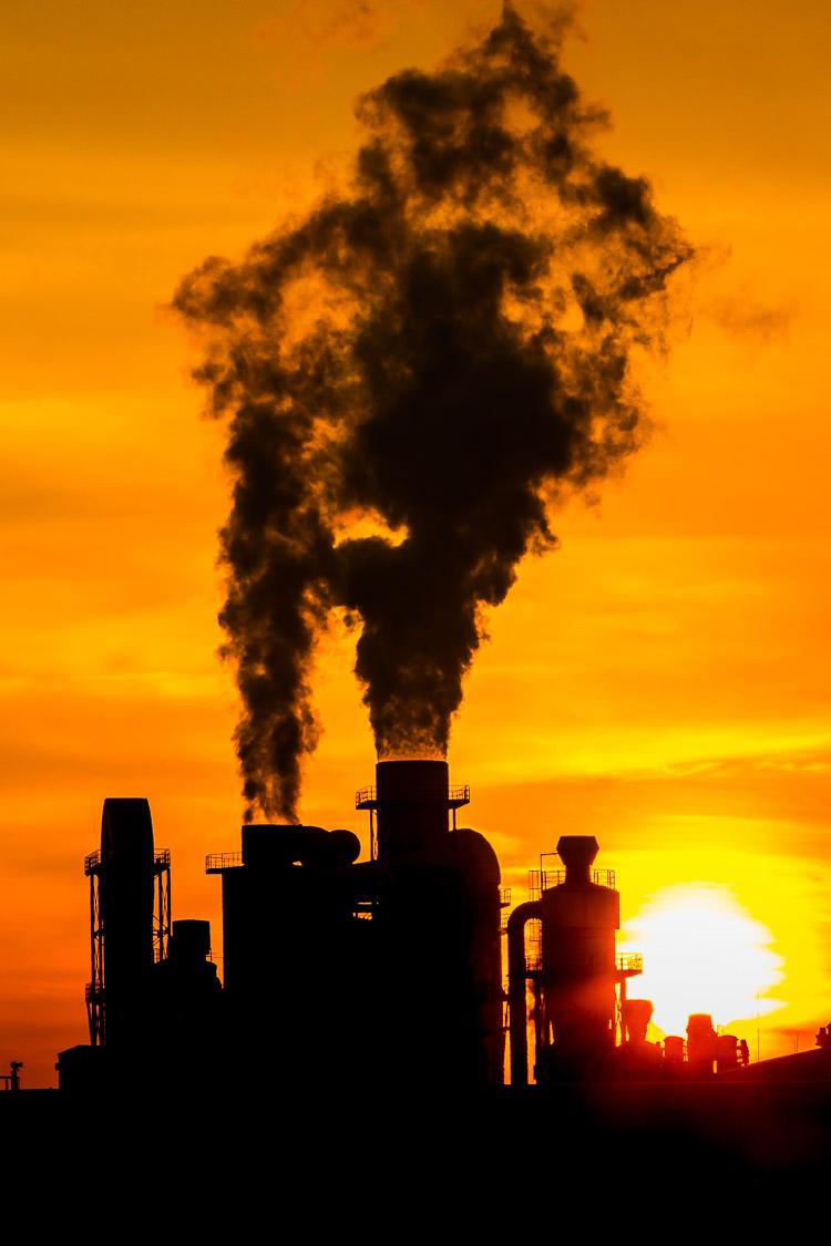 Industrie, Schornstein, Swisskrono, Sonnenuntergang