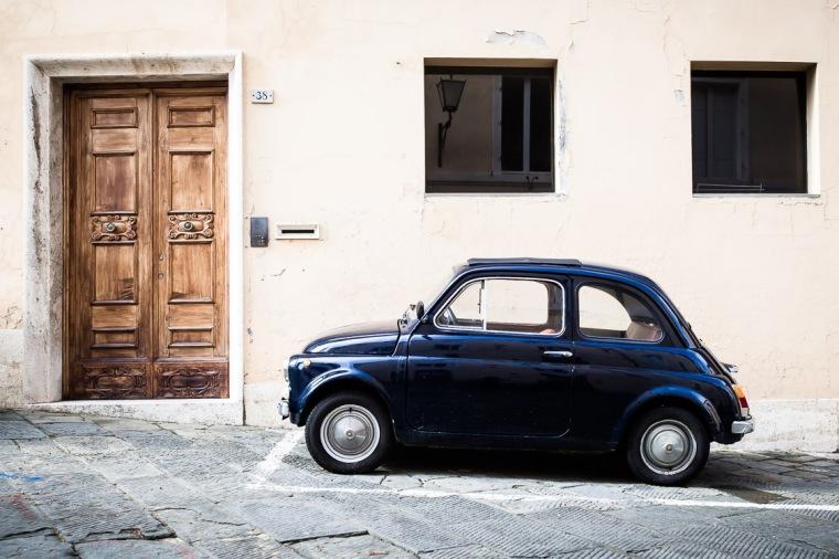 Fiat 500, Auto, Siena, Italien, Kleinwagen