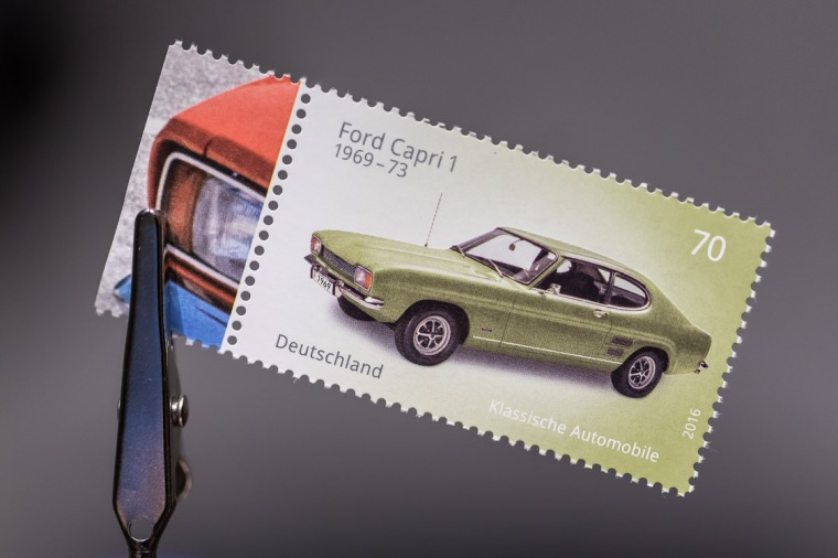 Briefmarke, 70 Cent, Ford Capri, Oldtimer