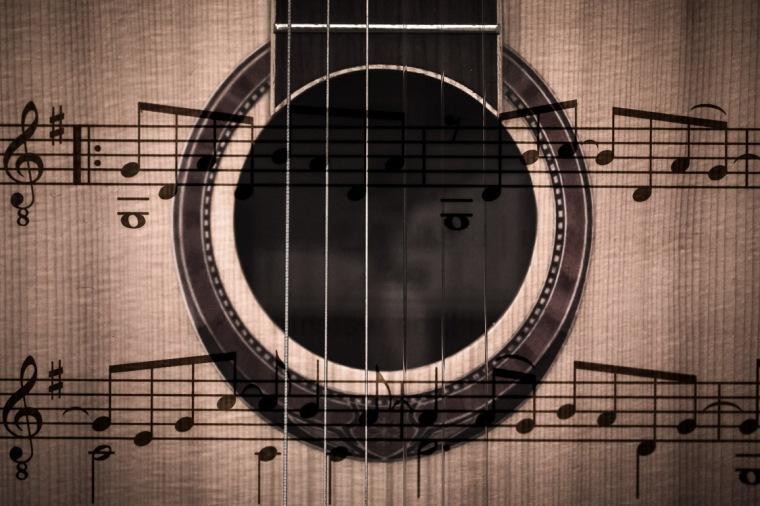 Gitarre, Noten, Doppelbelichtung, Schallloch
