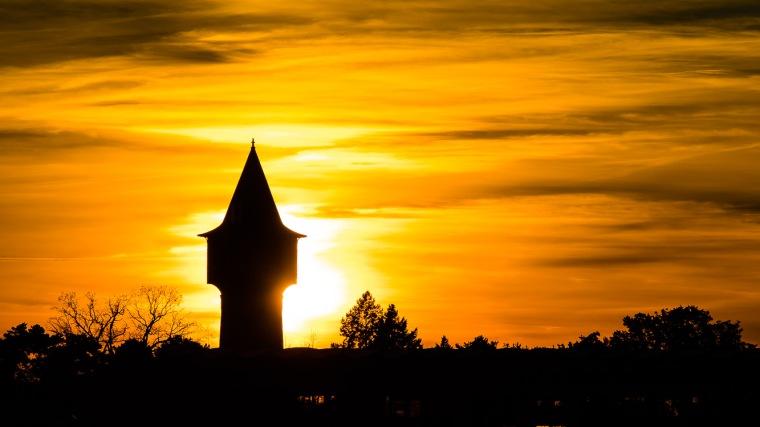 Wasserturm, Zernsdorf, Königs Wusterhausen, Sonnenuntergang