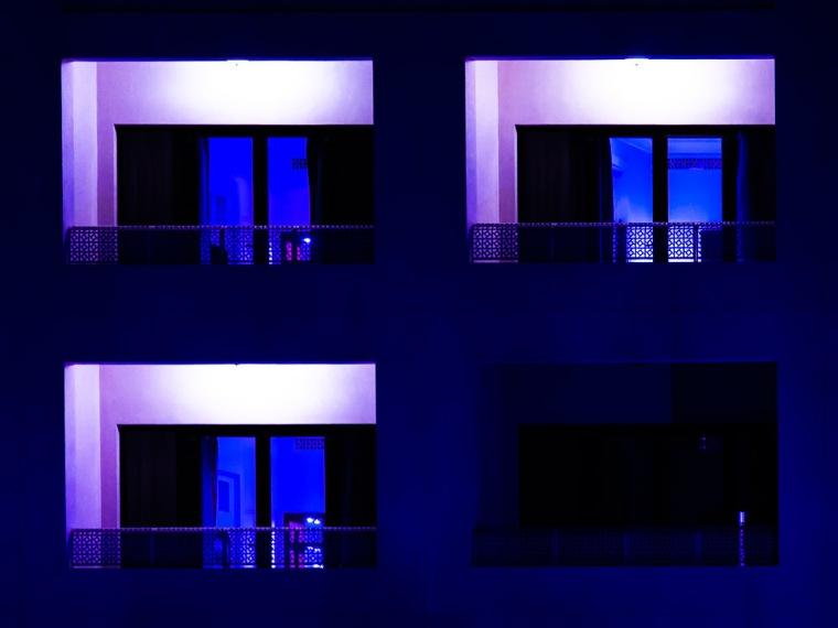 Fassade, Hotel, Balkon, Nacht