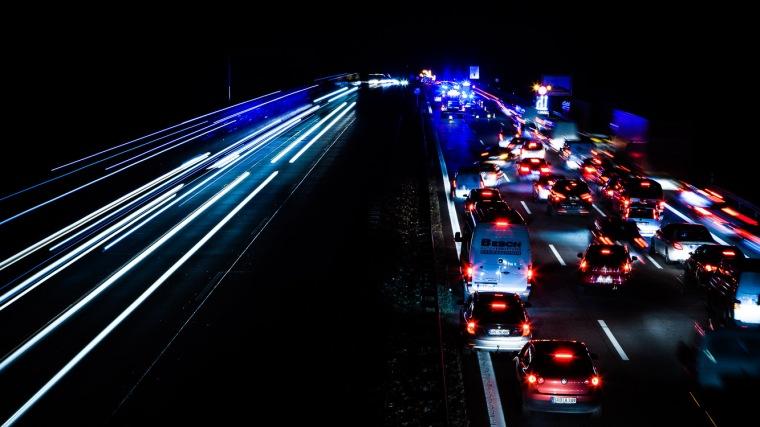 Stau, Autobahn, Nacht, Lichter