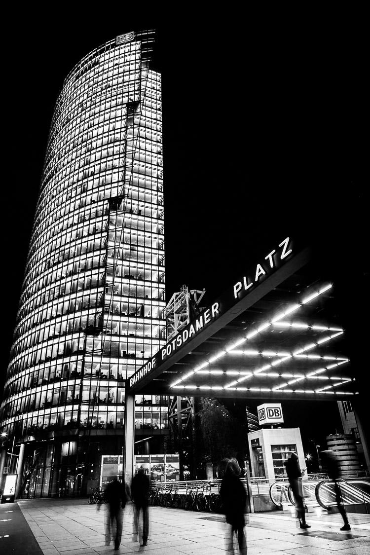 Potsdamer Platz, berlin, bahnhof, Deutsche Bahn, Bahntower, Nacht