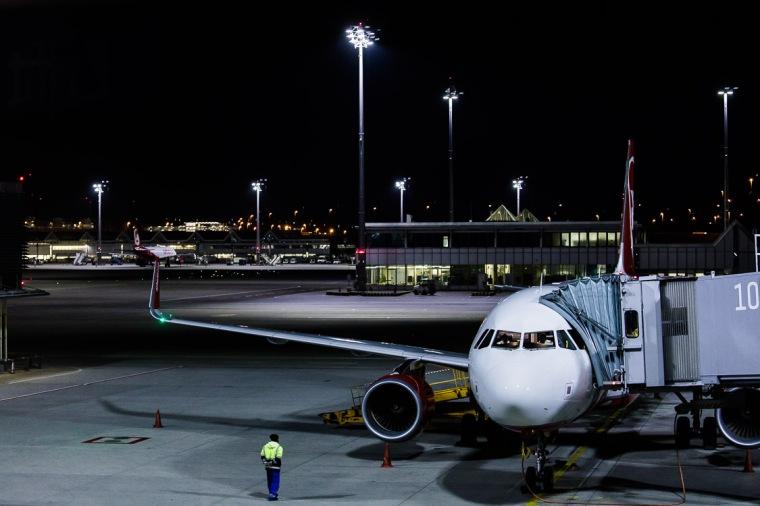 Flugzeug, AirBerlin, Flughafen, München, Nacht