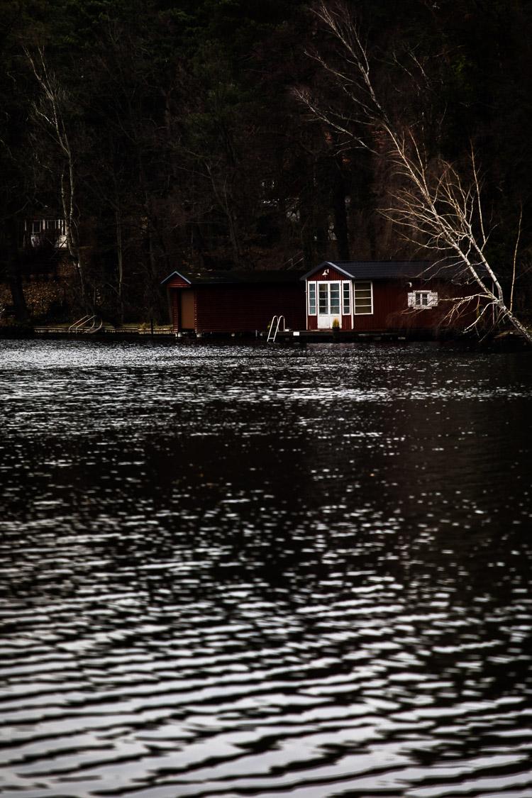 Haus, See, Ufer, Wasser, Winter, dunkel
